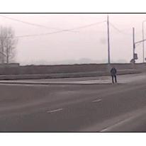 Close-call-collision-lucky-pedestrian