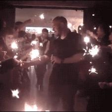 결혼식 축하 불꽃