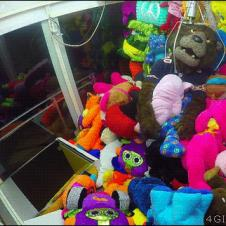 A mascot is grabbed inside a claw machine.
