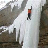 Ice climber fall