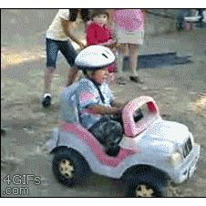 Power-wheels-pushed-downhill