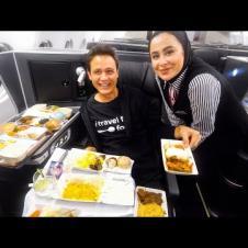 15 Courses BUSINESS CLASS Food on IRAN AIRLINES!!   Mahan Air - Bangkok to Tehran!