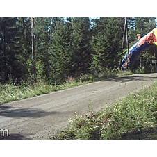 Rally racing car long jump