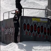Snowboarder front flip
