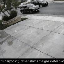 Teen driver hits garage.