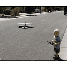 A kid can't control his RC plane.