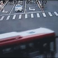 Lucky biker almost gets hit