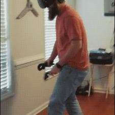 A guy slips and falls while engaged in virtual reality.