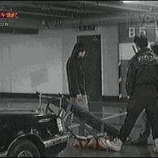 Motorcycle jump in a low ceiling parking garage