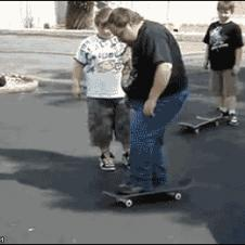 A fat dad tries and fails to use a skateboard.