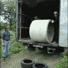 Unloading-cement-pipe-onto-tires