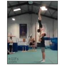 Cheerleader gymnastics flips