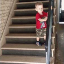 Boy-climbs-down-stairs-premature-celebration