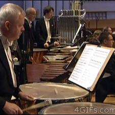 A concert drummer fails at turning a page.