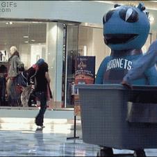 Mascot-scare-instant-karma