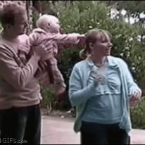 Dad saves falling baby.