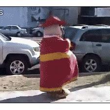Dancing-mascot-tackled