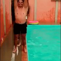 Dominoes pool diving